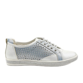 White openwork eco-leather sneakers A18-6252 blue silver
