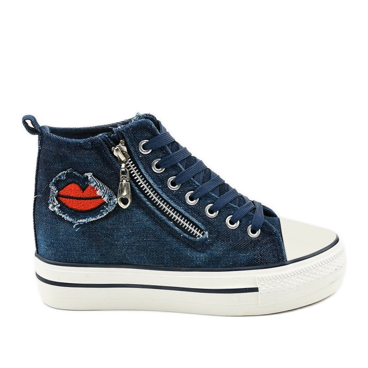 Dane's navy lace-up wedge sneakers navy blue