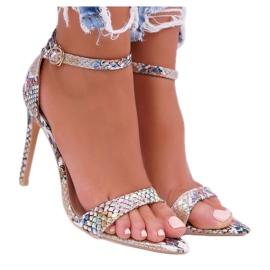 Lu Boo Snake Beige Ramann Women's Sandals multicolored