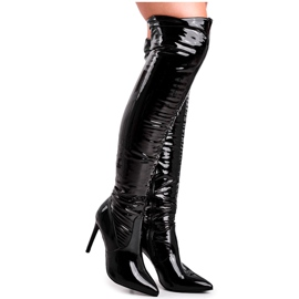 SEA Women's Boots On High Heel Latex Black Bite Me!
