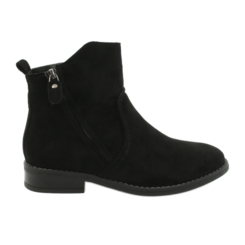 Evento Black suede ankle boots with zippers