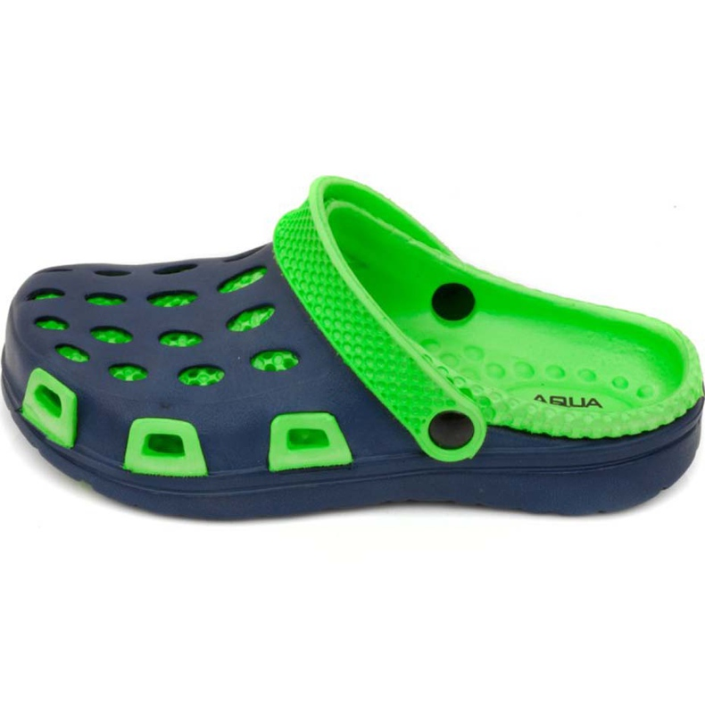 Aqua-speed Silvi col 48 green and navy blue slippers for children
