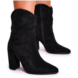 Ideal Women's Boots On High Heel Eco-Suede Black Ecstasy