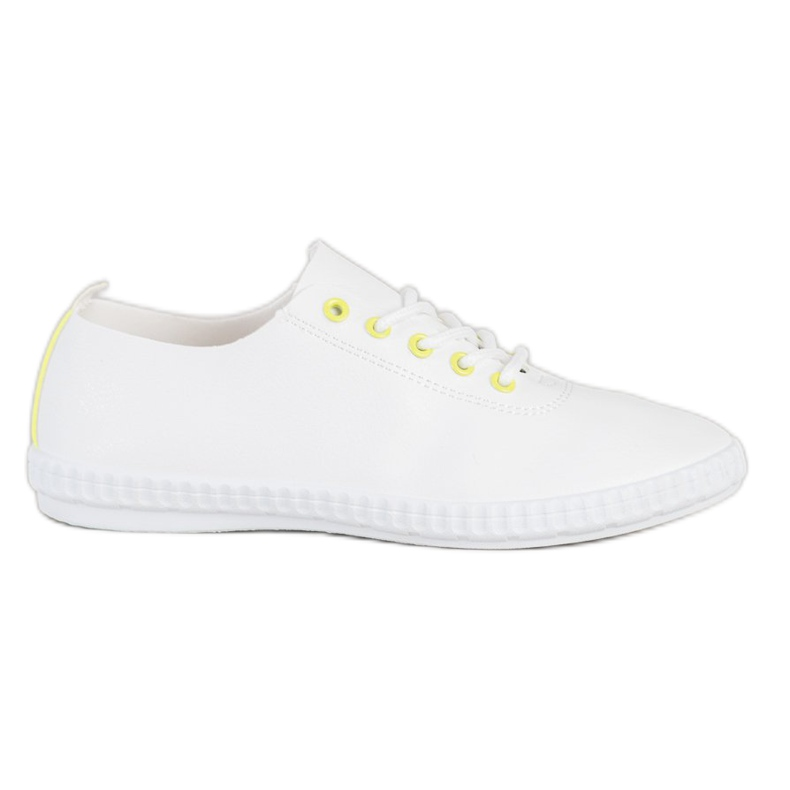 SHELOVET Light Sneakers With Eco Leather white yellow