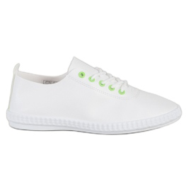 SHELOVET Light Sneakers With Eco Leather white green