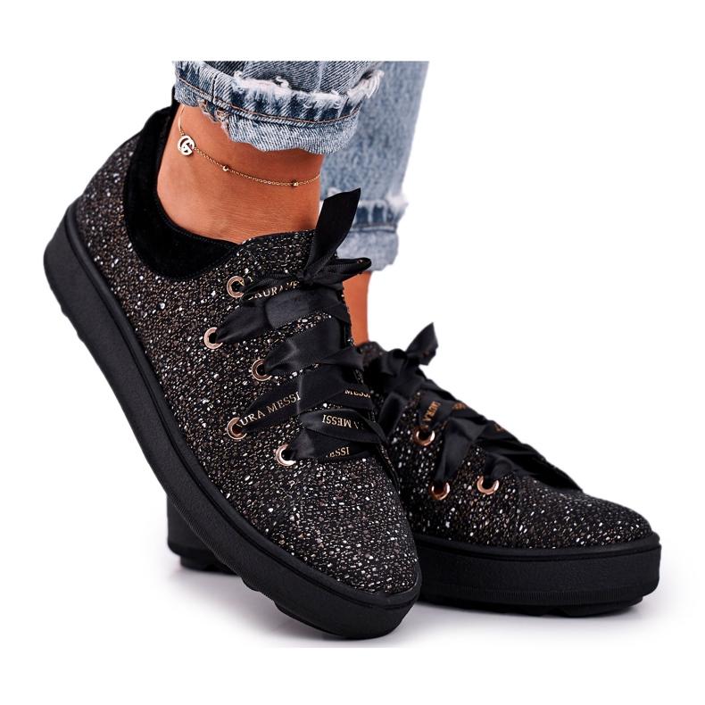Women's Sneakers Elegant Leather Laura Messi Black 2045