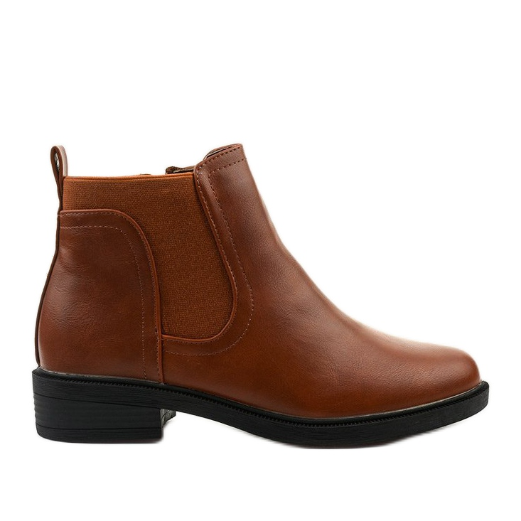 Camel flat ankle boots with an eco-leather Merriva brown