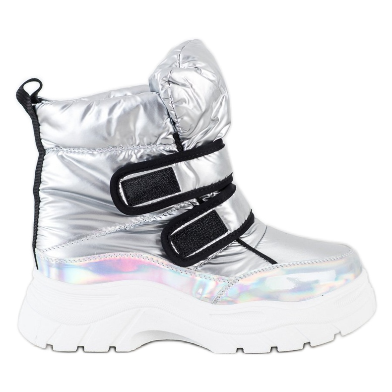 SHELOVET Shiny Snow Boots With Velcro silver