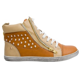 High Sneakers With Studs Y299 Camel beige brown