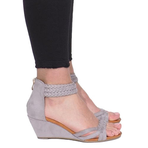 Gray sandals on a delicate wedge C7113-2 grey