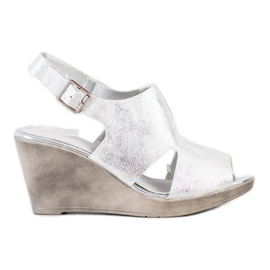 SHELOVET Silver Wedge Sandals