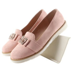 Pastel suede loafers T245 Pink 1