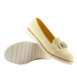 Pastel suede T245 Yellow moccasins 3