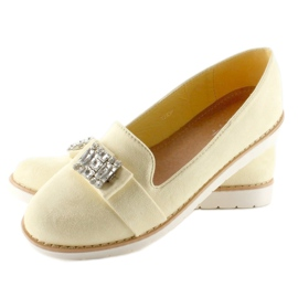 Pastel suede T245 Yellow moccasins 1