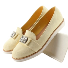 Pastel suede T245 Yellow moccasins 2