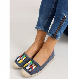 Espadrilles with colorful beads H8-58 D Blue 5
