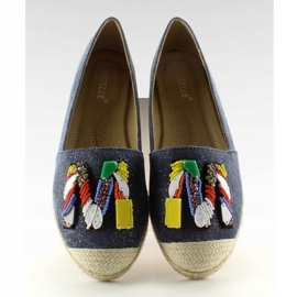 Espadrilles with colorful beads H8-58 D Blue 3