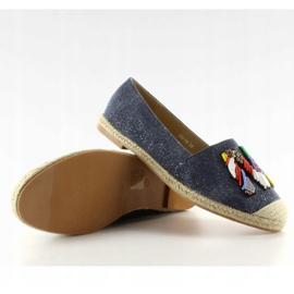 Espadrilles with colorful beads H8-58 D Blue 1