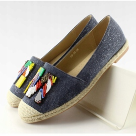 Espadrilles with colorful beads H8-58 D Blue 6