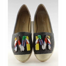Espadrilles with colorful H8-58 Black beads 4