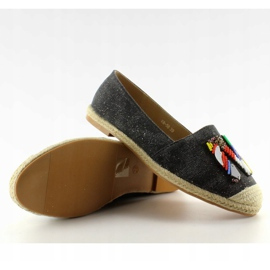 Espadrilles with colorful H8-58 Black beads 2