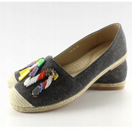 Espadrilles with colorful H8-58 Black beads 1