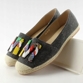 Espadrilles with colorful H8-58 Black beads 3