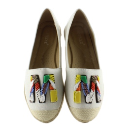 Espadrilles with colorful beads H8-58 White 4