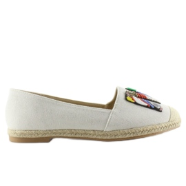 Espadrilles with colorful beads H8-58 White 1