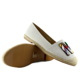 Espadrilles with colorful beads H8-58 White 2