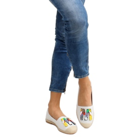 Espadrilles with colorful beads H8-58 White 6