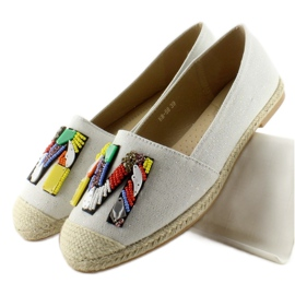 Espadrilles with colorful beads H8-58 White 5