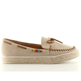 Loafers with colorful beads 2057Beige 2