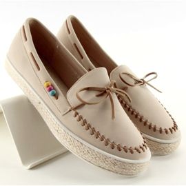 Loafers with colorful beads 2057Beige 1