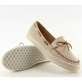 Loafers with colorful beads 2057Beige 3