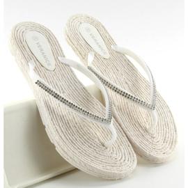 Rubber flip-flops like espadrilles ls069 white 2
