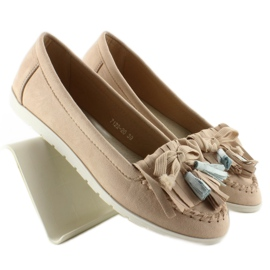 Suede loafers with 7122 Pink tassels brown 4
