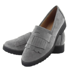 Women's loafers high sole F173p gray grey 3
