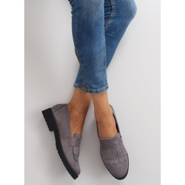 Women's loafers high sole F173p gray grey 1