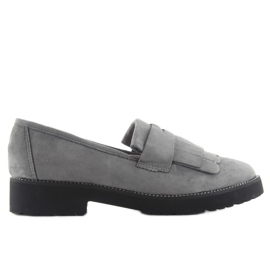 Women's loafers high sole F173p gray grey 2