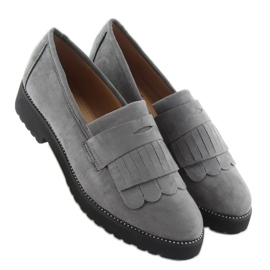 Women's loafers high sole F173p gray grey 4