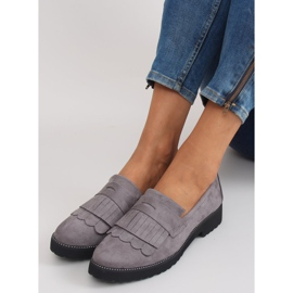 Women's loafers high sole F173p gray grey 5