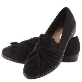 Women's loafers with black black bow 5