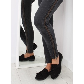 Women's loafers with black black bow 2