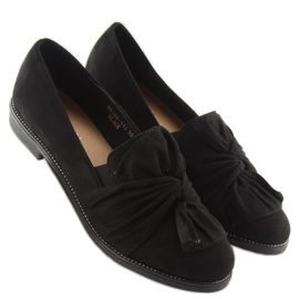 Women's loafers with black black bow 3