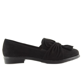 Women's loafers with black black bow 6
