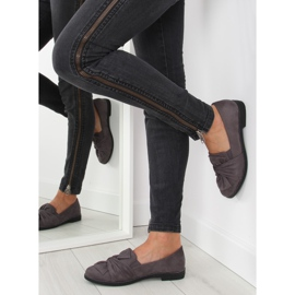 Women's loafers with a gray gray bow grey 5