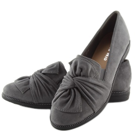 Women's loafers with a gray gray bow grey 4