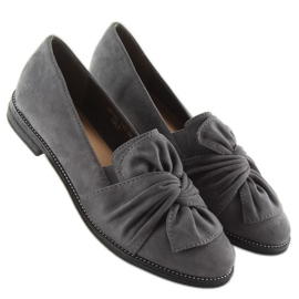 Women's loafers with a gray gray bow grey 6