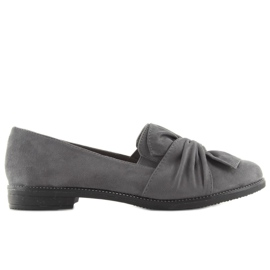 Women's loafers with a gray gray bow grey 1
